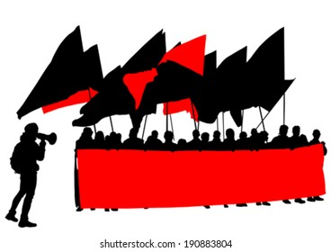 People of anarchy with large flags