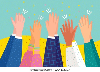 People applaud. Human hands clapping ovation. Flat design, business concept, vector illustration