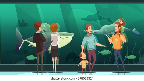People in aquarium design composition with adults and children looking at floating fishes flat vector illustration