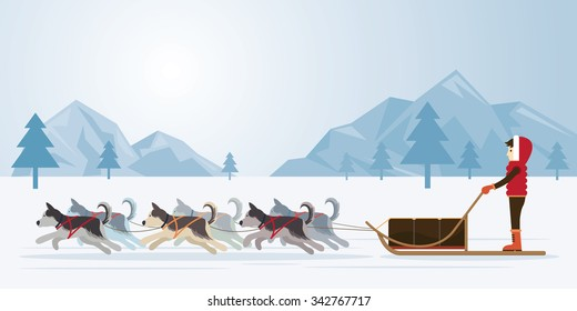 People with Arctic Dogs Sledding, Panorama Background, Winter, Nature Travel and Adventure