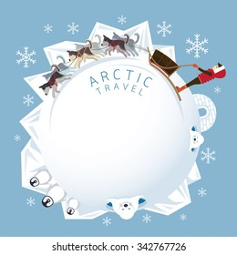 People with Arctic Dogs Sledding, Round Frame, Winter, Nature Travel and Adventure