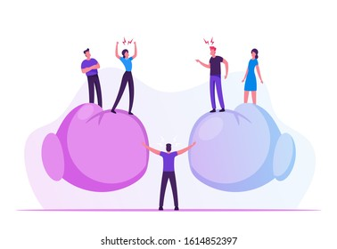 People Arguing and Yelling to Each Other Standing on Huge Boxing Gloves with Mediator Person in Center Trying to Stop Aggressive Verbal Fight, Conflict Confrontation. Cartoon Flat Vector Illustration
