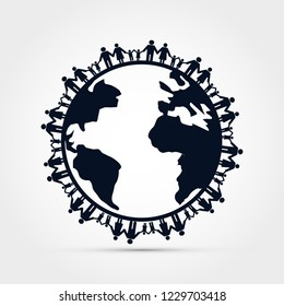 People around earth holding hands vector illustration