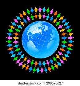 People around the earth. Template concept for global organizations, companies, foundations, associations, unions.