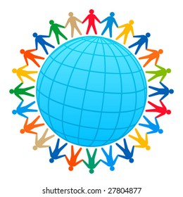 People around of globe. Social concept