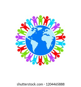 People Around Globe. Unity Symbol, teamwork concept. Vector illustration.