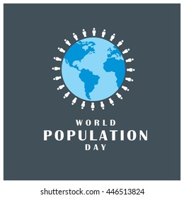 people around the globe world population day blue background