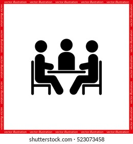 people around the table icon vector illustration eps10. Isolated badge for website or app - stock infographics