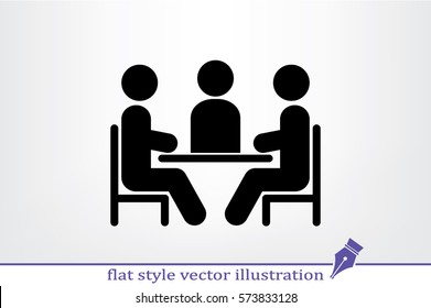 people around the table icon vector illustration eps10. Isolated badge for website or app - stock infographics.