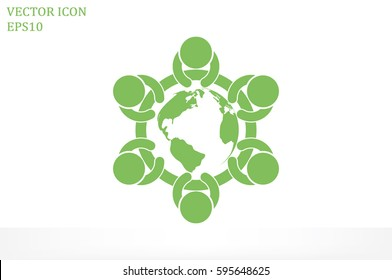 people around the table icon vector illustration.