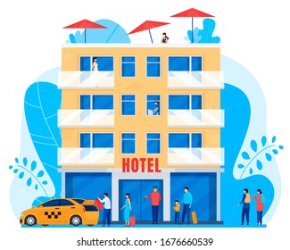 People arrive to hotel, men and women with baggage, vector illustration. Tourists at hotel building, guests and staff cartoon characters, taxi car. Hostel facade in flat style, people traveling