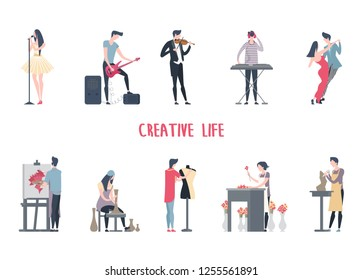 People at art job or creative profession, man and woman at entertainment work. Singer and musician with guitar and synthesizer, dancers and painter, potter, fashion designer, florist, sculptor. Work