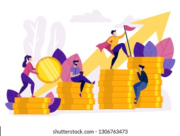 People Ascending by Coins Graph. Financial Growth Concept. Businessmen Climbing Stairs Toward Money. Financial Success. Arrow Upwards. Corporate Spirit and Goals. Leader is on Top. Vector EPS 10.