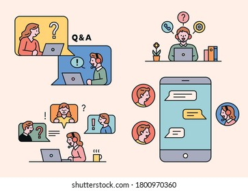 People are asking questions through computer and mobile messages. flat design style minimal vector illustration.