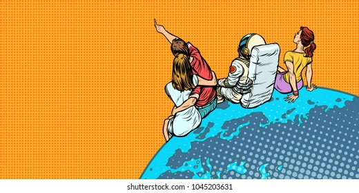 people and an astronaut sitting on planet Earth watching the sky. Pop art retro vector illustration comic cartoon vintage kitsch drawing