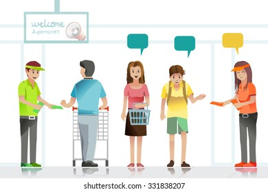 People are attention to advertising leaflets in supermarket. Illustration Idea for shopper.