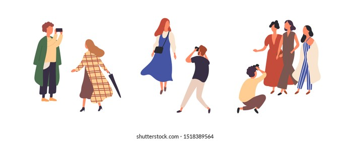People in autumn fashionable clothes flat vector illustrations set. Stylish models outdoor photoset isolated design elements on white background. Fashion magazine photographer characters.