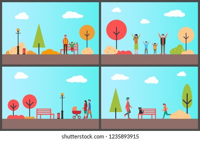 People in autumn park, sunny day of season vector. Teenager jogging and working out, family walking with stroller and kid. Father and daughter rest