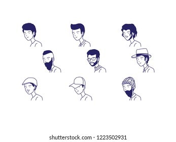 People avatar cartoon caricature line style vector illustration