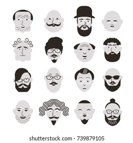 People Avatar Face icons black and white