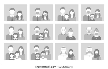 People avatar flat icons. Vector illustration included icon as man, female head, muslim, senior, familes and couples human face pictogram for user profile. Round generic neutral portraits