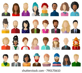 People avatar flat vector set