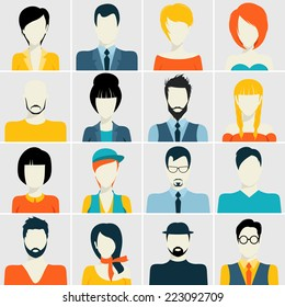 People avatar male and female human faces passport photo style icons set isolated vector illustration