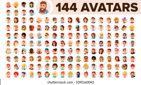 People Avatar Set Vector. Man, Woman. People User Person. Trendy Image. Comic Face Art. Cheerful Worker Avatar. Round Portrait. Cute Employer. Flat Cartoon Character Illustration