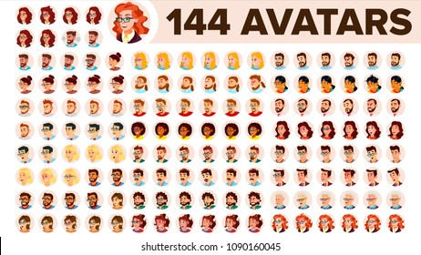 People Avatar Set Vector. Man, Woman. Human Emotions. Anonymous Male, Female Avatar. Icon Placeholder. Person Silhouette. User Portrait. Emotions. Flat Handsome Manager. Flat Cartoon  Illustration