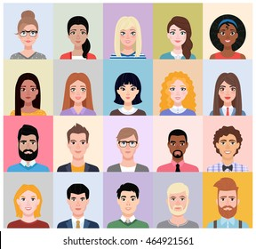 People avatars collection in cartoon style. Set of male and female flat portraits of different nationalities and characters.