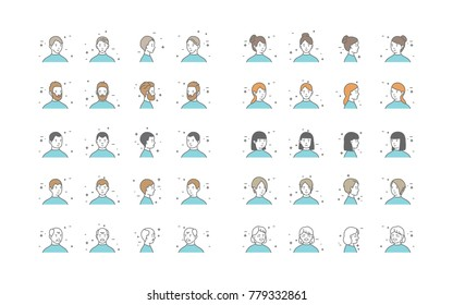 People Avatars Collection Vector. Default Characters Avatar. Line Art Isolated Illustration