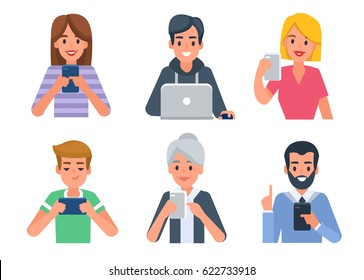 People avatars with different devices. Flat style vector illustration isolated on white background.