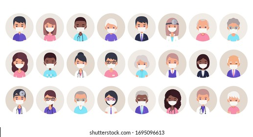 People avatars in medical masks. Vector. Doctors, nurses, seniors and businessmen in protective surgical masks. Set of person of faces different ages. Flat illustration. Cartoon characters isolated.