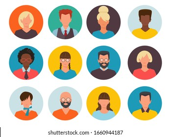 People avatars. Profile id images cv head of businessman and women vector collection