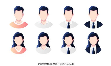 People avatars set. Businessman, office worker in suit. Profile picture icons. Male and female faces. Cute cartoon modern simple design. Beautiful colorful template. Flat style vector illustration.