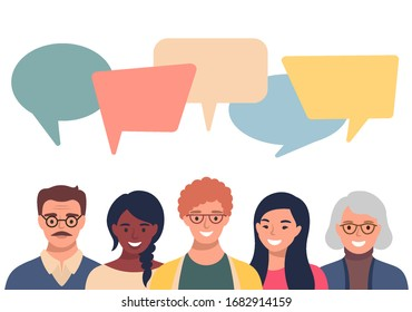 People avatars with speach bubbles. Men and woman communication, talking llustration. Coworkers, team, thinking, question, idea, brainstorm concept.