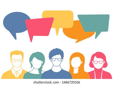 People avatars with speech bubbles. Men and woman communication, talking llustration. Coworkers, team, thinking, question, idea, brainstorm concept.