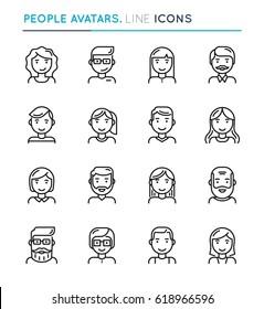 People avatars thin line icon set. Editable stroke