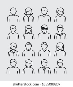 People Avatars Vektorzeilensymbole