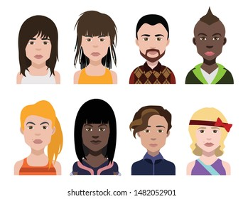 People avatars, Vector women, men avatar