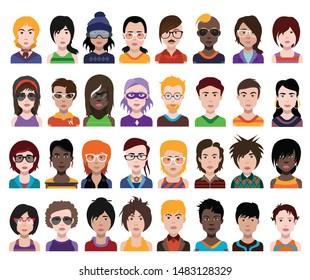 People avatars. Vector women, men avatar.
