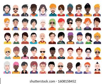 People avatars. Vector women, men avatar. - Vector