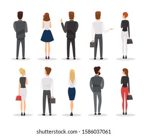 People back view flat vector illustrations set. Office workers gesturing cartoon characters isolated on white background. Elegant men and women, businesspeople in formal dress code rear view.