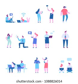 People background characters. Using gadgets. Communication via Internet, chatting, social networking. People addiction to networks and spending time in internet. Flat vector illustration isolated.