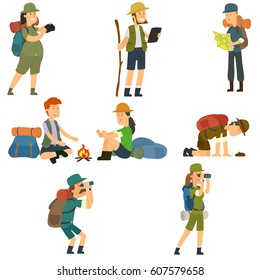 People with backpacks are hiking. Men and women in camp clothes isolated on white background. vector illustration.