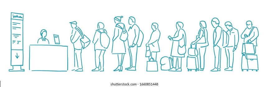 People with bags stand in line. Queue. Registration for the plane. Departure of Travelers. Contour sketch hand drawn blue line vector.