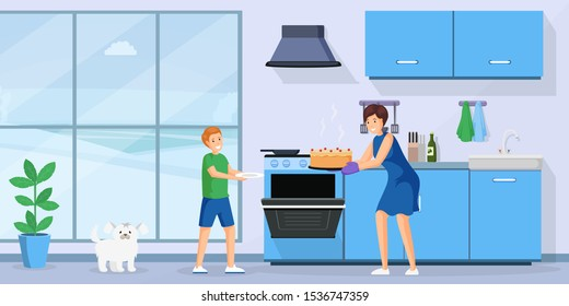People baking cake flat vector illustration. Smiling woman and little kid in kitchen together cartoon characters. Housewife taking fresh homemade pastry from oven, mother and son cooking dessert