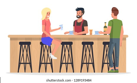 People at Bar. Bartender Serving Coffee and Vine to Customer. Cafe with Modern Wooden Interior Inside. Young Lady and Man Hanging and Talking with Barman. Flat Cartoon Illustration.