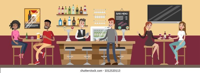 People at bar drinking and having fun.