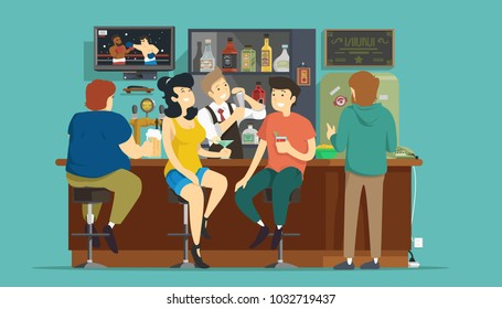 People in bar. Vector illustration.